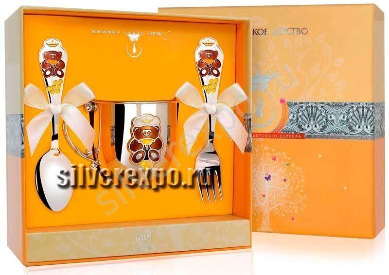 Серебряный набор Мишка с приборами Фабрика серебра АРГЕНТА 023НБ5568