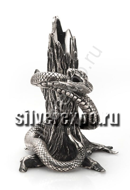 Серебряная подставка для ручки змея Альтмастер Кострома АЛТ350