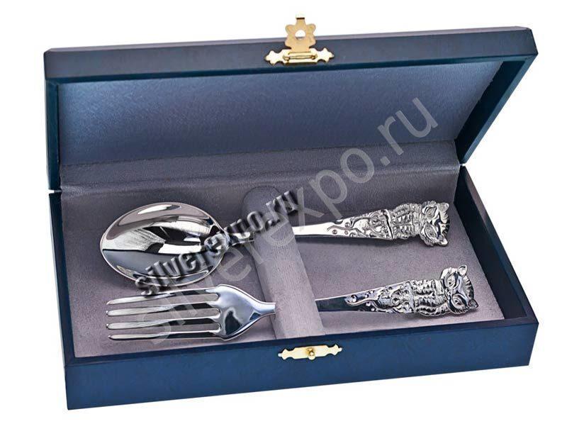 Серебряные десертные приборы Котята Рубеж Россия 206201/2
