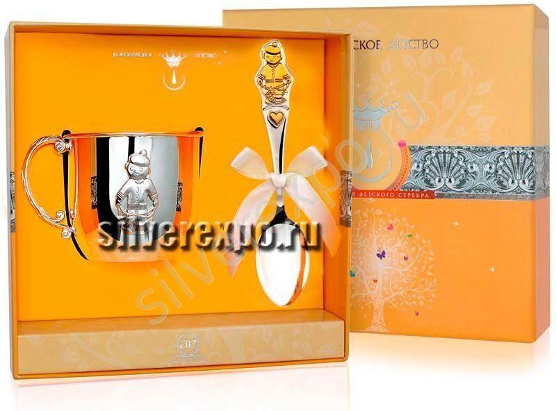 Серебряный набор для мальчика Фабрика серебра АРГЕНТА 155-63а