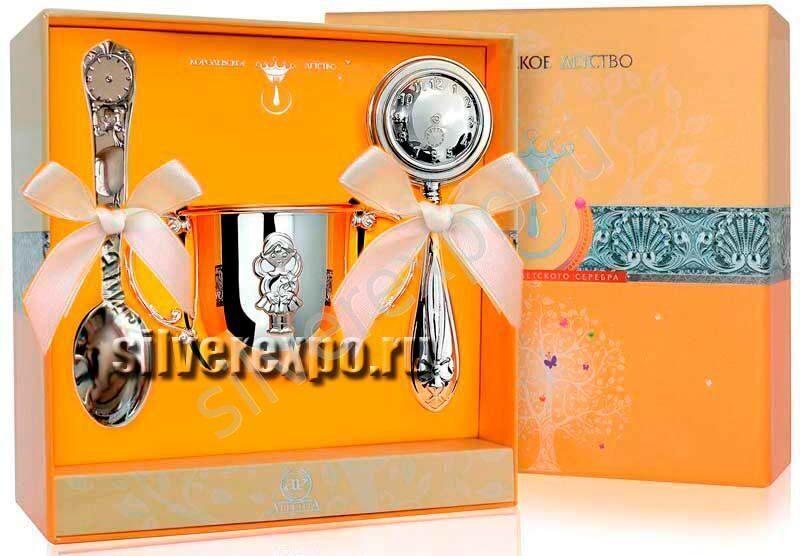 Серебряный набор для девочки Часы Фабрика серебра АРГЕНТА 589НБ030031
