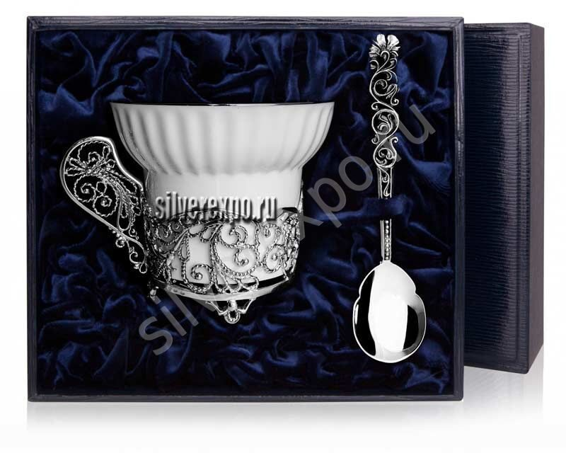Чайная серебряная чашка Зимние узоры Фабрика серебра АРГЕНТА 680ЧШ03006