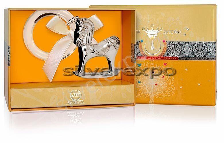 Серебряная погремушка Лошадка Фламинго (Португалия) 1GI0121М
