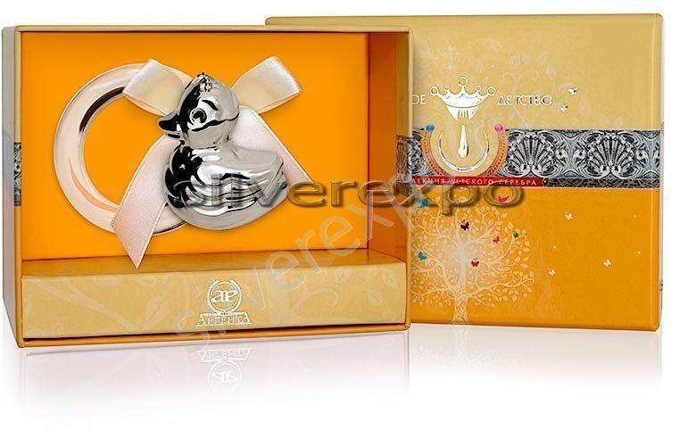 Серебряная погремушка Уточка Фламинго (Португалия) 1GI0121A