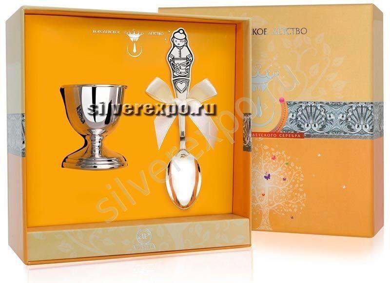 Подставка под яйцо с ложкой Мальчик Фабрика серебра АРГЕНТА 8620012-12
