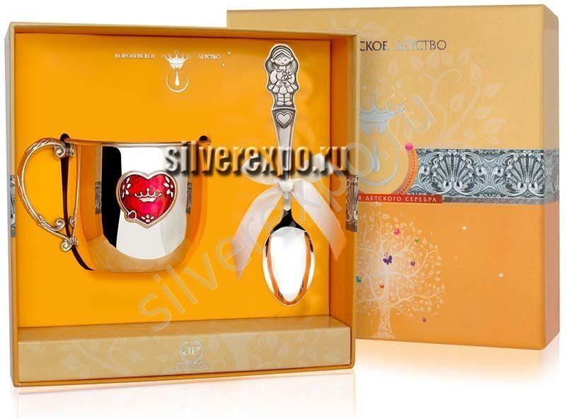 Серебряный подарочный набор девочке Фабрика серебра АРГЕНТА 1304-1
