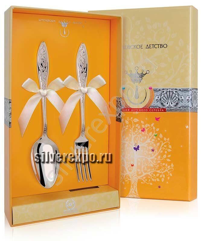 Серебряный десертный набор Морозко Фабрика серебра АРГЕНТА 039НБ02001/2