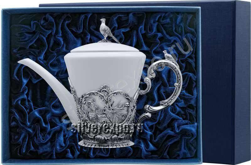 Серебряный чайник Королевская охота Фабрика серебра АРГЕНТА 878ЧН03006