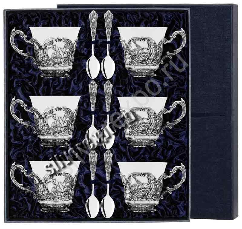 3 чайные пары Королевская Охота Фабрика серебра АРГЕНТА 080НБ03806