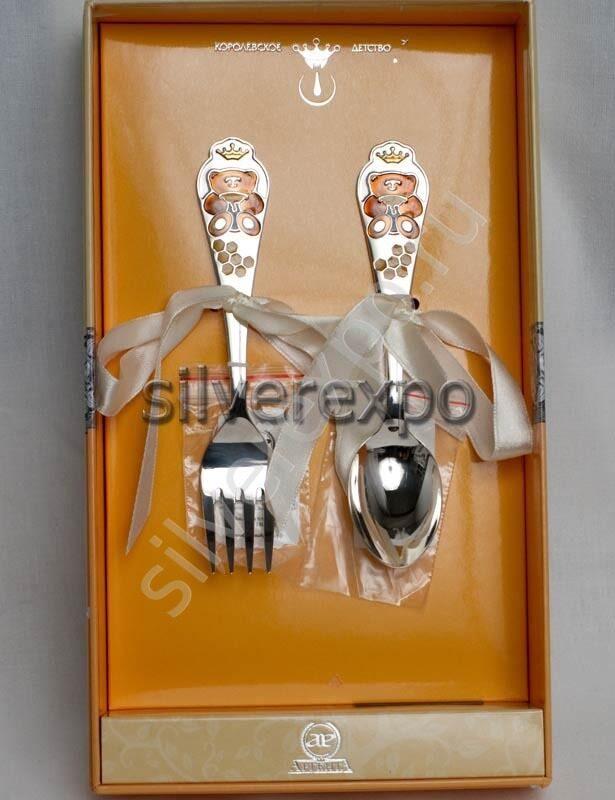 Серебряные приборы Медовый мишка Фабрика серебра АРГЕНТА 298-2/2А