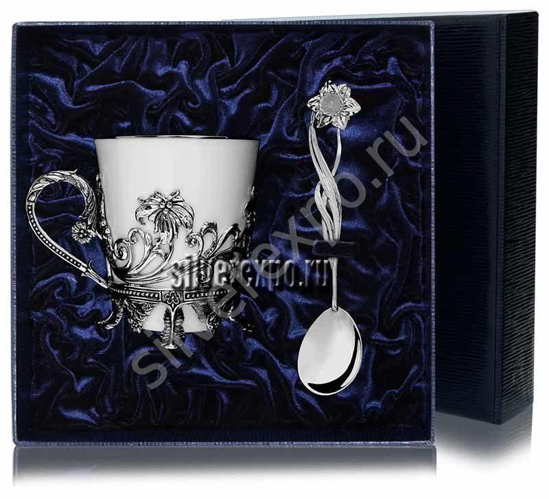 Набор для чая Цветочный Фабрика серебра АРГЕНТА 563-2