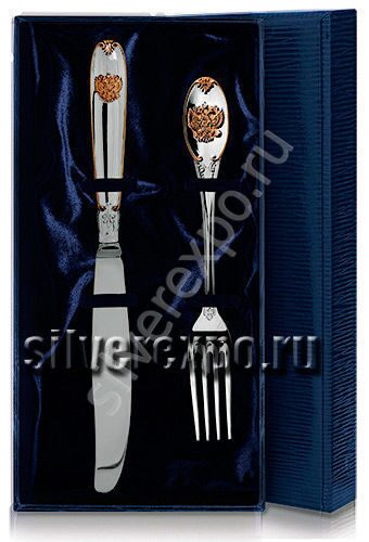 Серебряный нож с вилкой Герб с позолотой Фабрика серебра АРГЕНТА 361-22