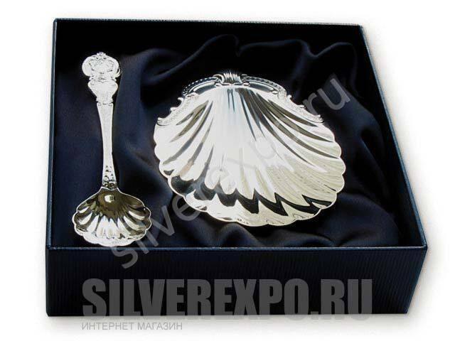 Набор Волна (Кокильница, ложка Богема) Фабрика серебра АРГЕНТА su7_001_130НБ00001