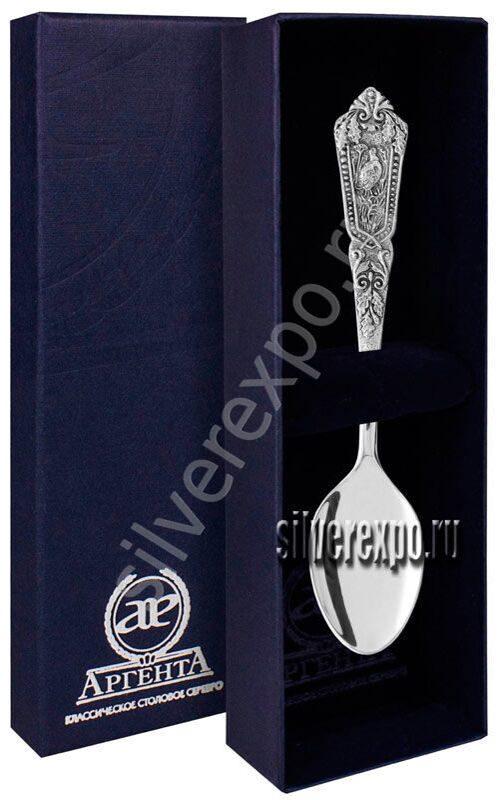 Серебряная чайная ложка Королевская Охота Фабрика серебра АРГЕНТА 122ЛЖ03006