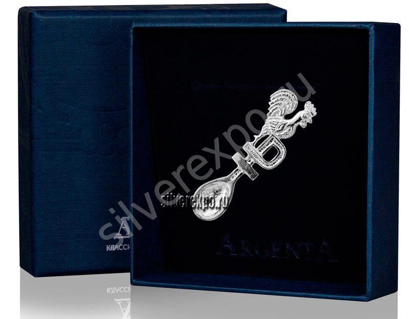 Серебряная сувенирная ложка Петух с рублем Фабрика серебра АРГЕНТА 885СВ00001