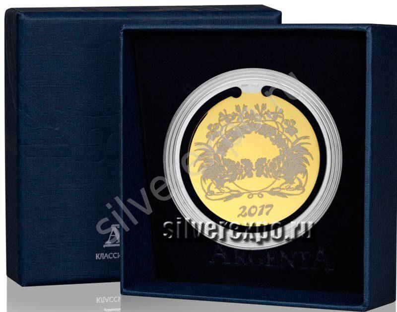 Серебряная закладка для книг Петушиные бои Фабрика серебра АРГЕНТА 290ЗК22002-3