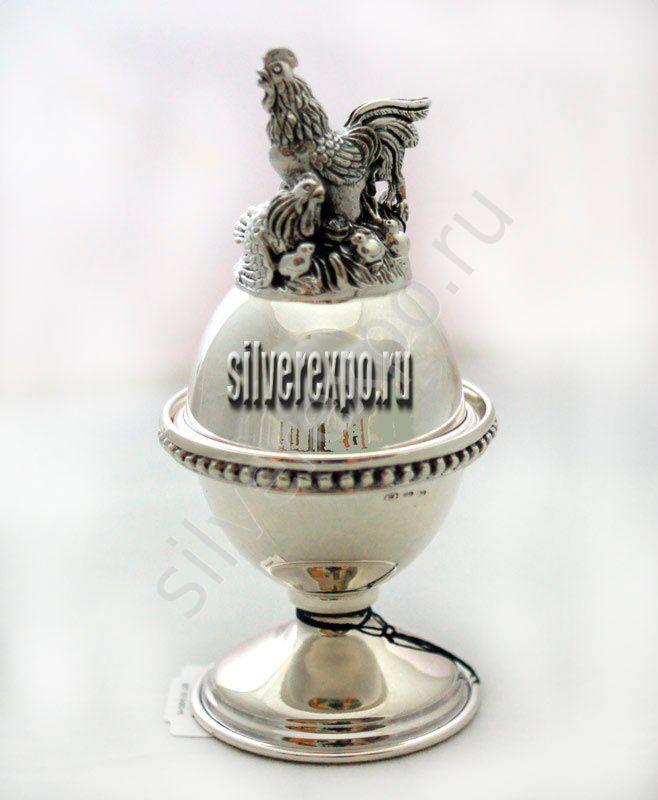 Солонка -подставка для яйца Петух Фабрика серебра АРГЕНТА 891СЛ00001