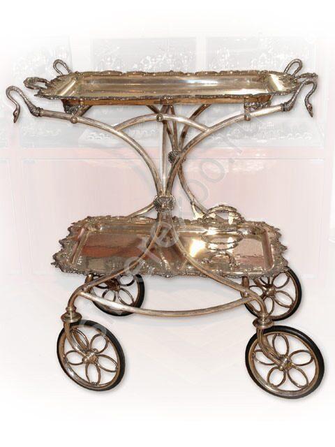 Сервировочный столик на колесах из серебра Calegaro Италия 1