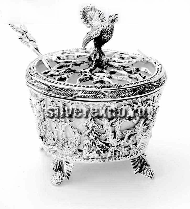 Серебряная солонка Глухарь с ложкой Фабрика серебра АРГЕНТА 599СЛ00006