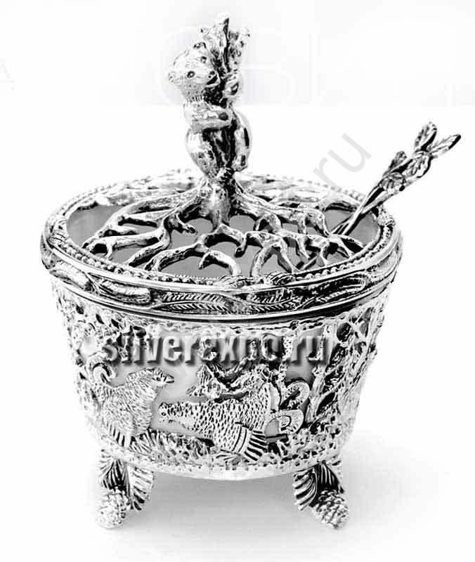 Серебряная солонка Медведь с ложкой Фабрика серебра АРГЕНТА 596СЛ00006