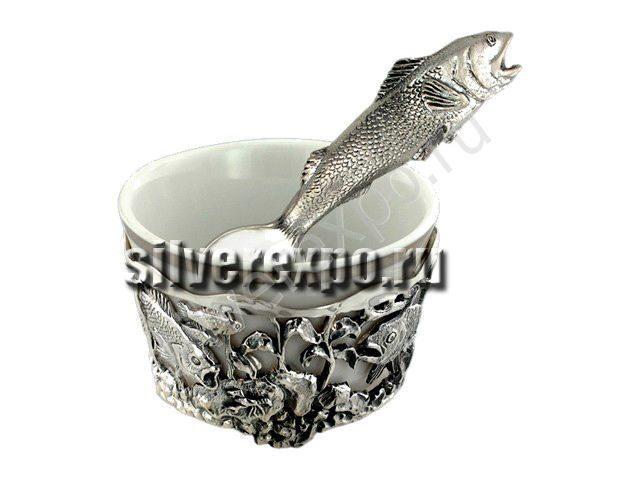 Серебряная солонка Рыбка Фабрика серебра АРГЕНТА 614НБ00006