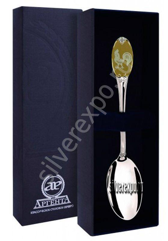 Серебряная ложка Золотой Петушок Фабрика серебра АРГЕНТА 293ЛЖ03002 -1