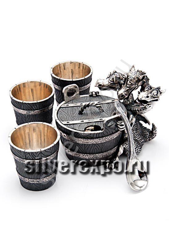 Серебряная икорница с рюмками Змей Горыныч Альтмастер Кострома АЛТ3519