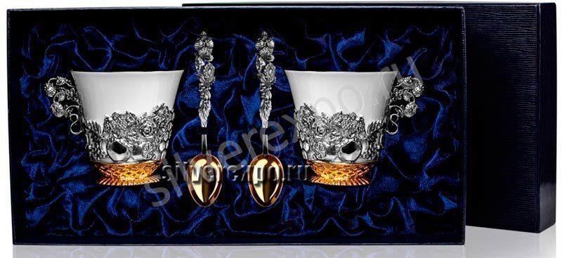 Серебряный чайный набор Натюрморт с позолотой Фабрика серебра АРГЕНТА 189562