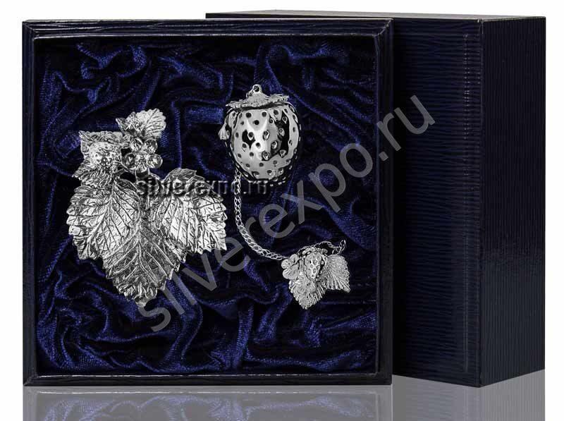 Серебряное ситечко для чая с подставкой Фабрика серебра АРГЕНТА 855ПВ00006