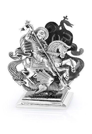 Серебряная подставка для визиток Георгий Победоносец Альтмастер Кострома 12466