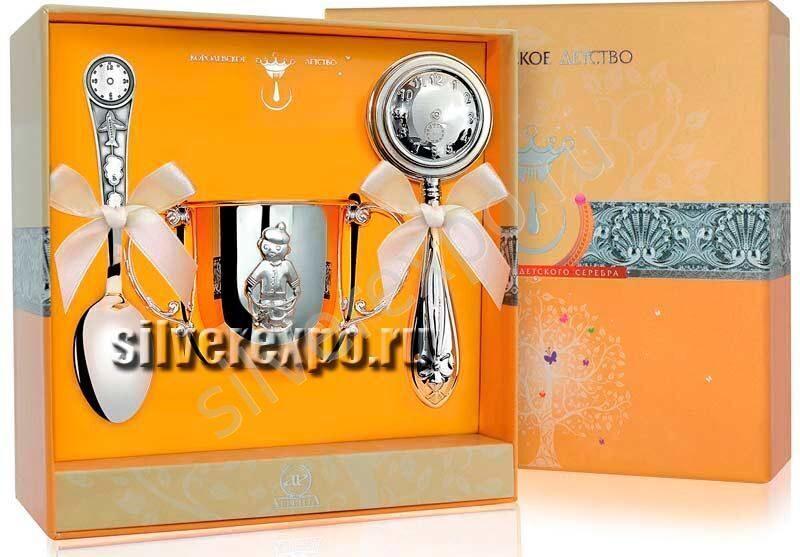 Серебряный набор для мальчика Часы Фабрика серебра АРГЕНТА 589НБ03003