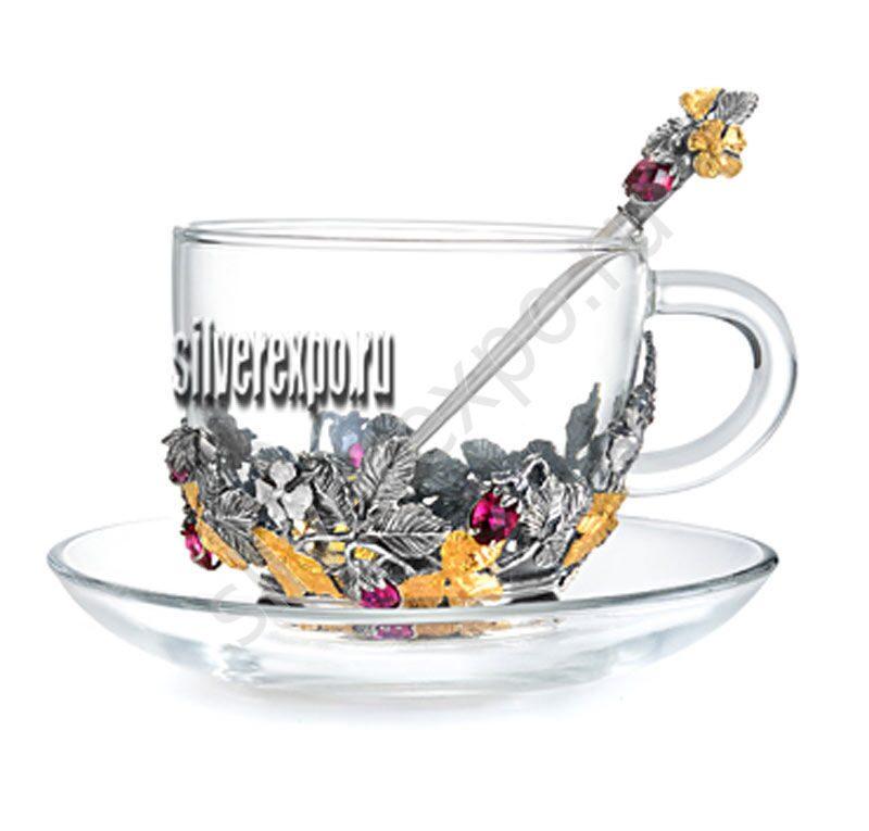 Чайный набор с серебром Земляника Альтмастер Кострома 266АЛТ