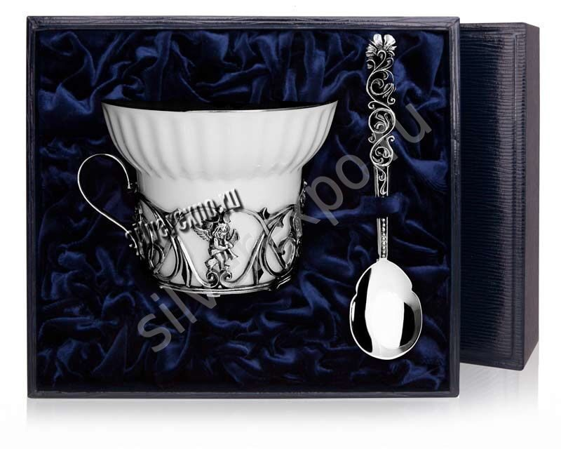 Чайная серебряная чашка Ангел Фабрика серебра АРГЕНТА 672ЧШ03006