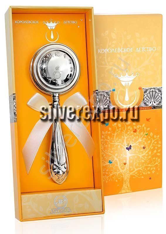 Погремушка серебряная Часы Фламинго (Португалия) АН20331