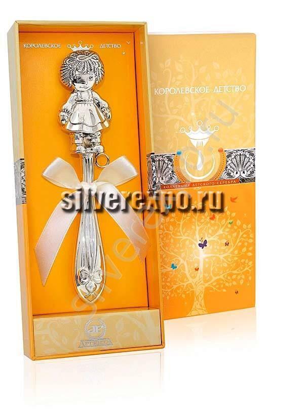 Серебряная погремушка Девочка Фламинго (Португалия) 1GI0441J