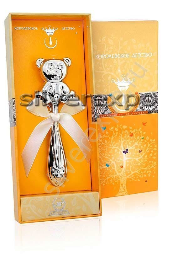 Погремушка серебряная Мишка Фламинго (Португалия) АМ20330
