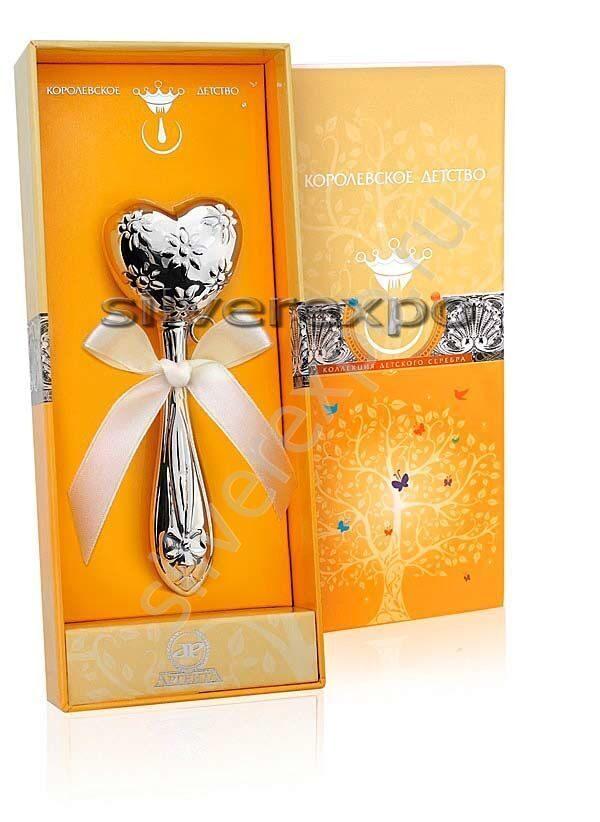 Погремушка серебряная Сердце Фламинго (Португалия) АМ20336