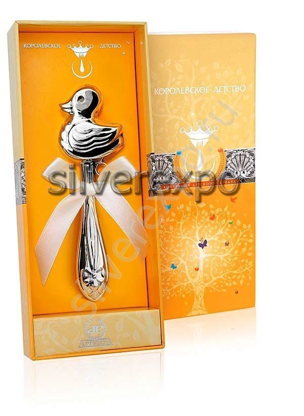 Серебряная погремушка Уточка Фламинго (Португалия) 1GI0201