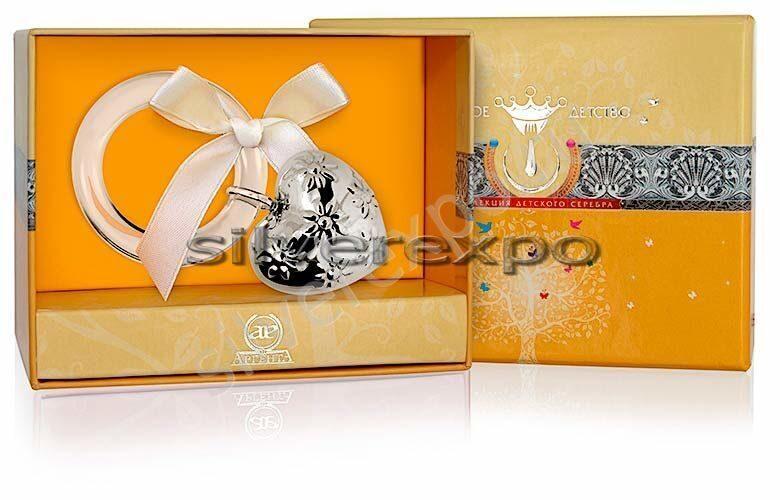 Серебряная погремушка Сердце Фламинго (Португалия) 1GI0081О