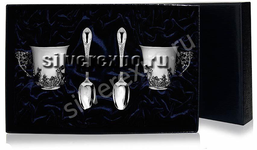 Набор серебряных чашек кофейных Зайцы Фабрика серебра АРГЕНТА 531НБ07001