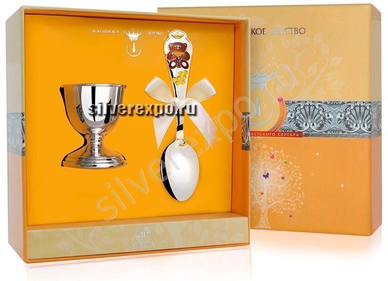 Подставка под яйцо с ложкой Мишка Фабрика серебра АРГЕНТА 8620012-42