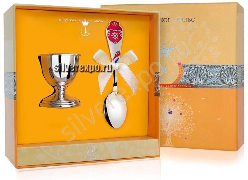 Подставка под яйцо с ложкой Сердечко Фабрика серебра АРГЕНТА 8620012-40