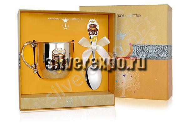 Серебряный детский набор Мишка КД Фабрика серебра АРГЕНТА 489НБ020032/2