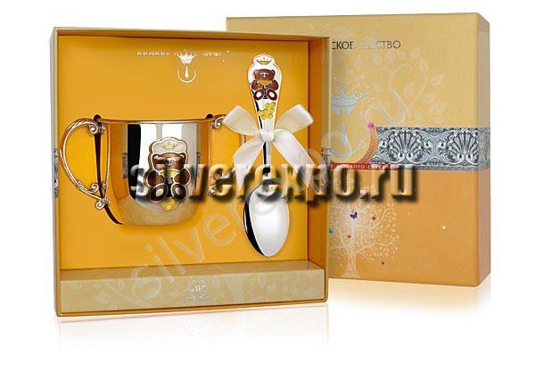 Серебряный набор Мишка КД Фабрика серебра АРГЕНТА 189-31