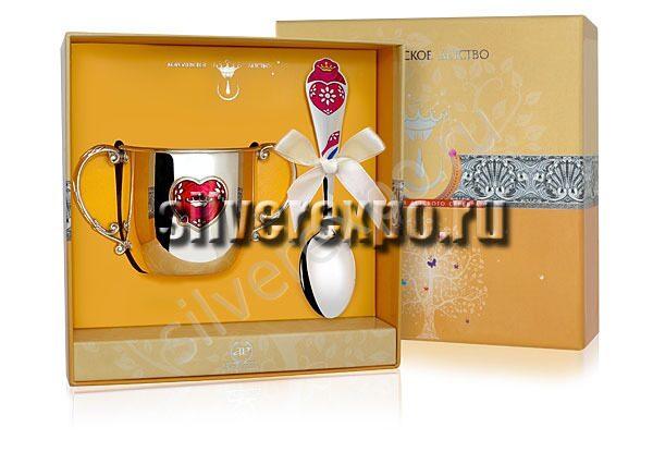 Серебряный детский набор Сердце Фабрика серебра АРГЕНТА 488НБ020032/2