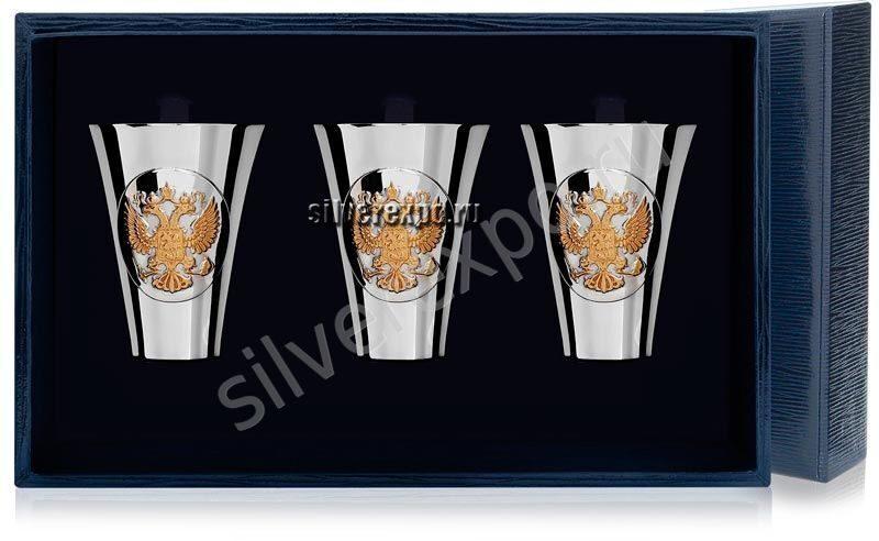 Набор стопок Герб с позолотой 3 шт. Фабрика серебра АРГЕНТА 285СТ00002/3