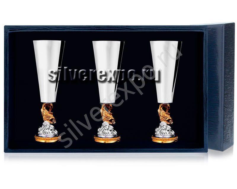 Набор серебряных рюмок Золотая Рыбка Фабрика серебра АРГЕНТА 577РМ00002/3
