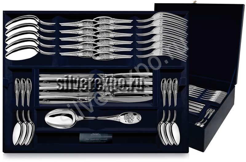 Столовое серебро набор Герб на 12 персон Фабрика серебра АРГЕНТА 235/4801
