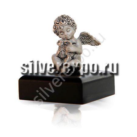 Серебряная фигурка Ангел с кроликом ООО «Золотой Стандарт» 991805