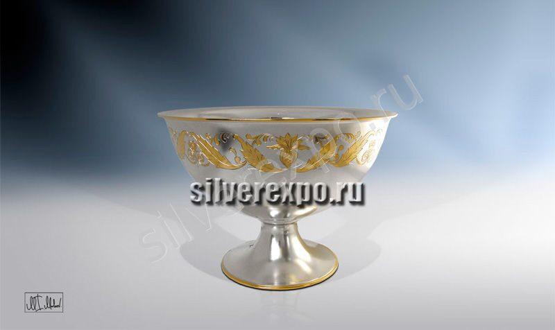 Серебряная конфетница с позолотой ЗАО «Мстерский Ювелир» 33684700225